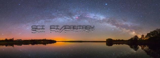 Bright Milky Way over the lake at night (panoramic photo)